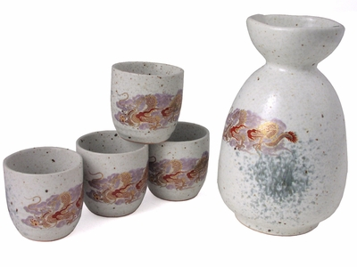 Speckled Cream Majestic Dragon Japanese Sake Set