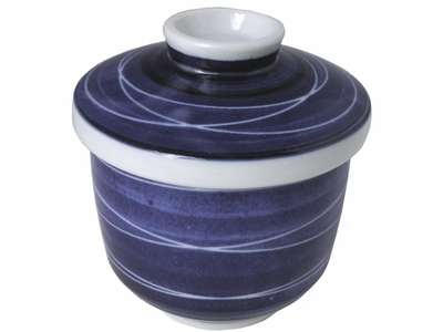 Elegant Blue and White Lines Chawa Mushi Cup