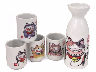 Maneki Neko Japanese Sake Set for Four