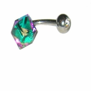 Belly Barbell - Green Crystal