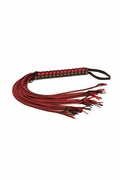 Triple X Ultimate Braided Black and Red Leather Whip 34""