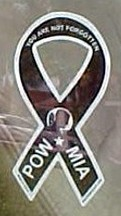 "POW-MIA Mini Ribbon Static Decal 2"" x 4"""