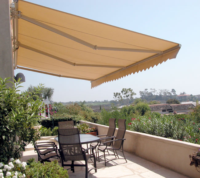 Retractable patio awnings copper series for Terrace shed designs india