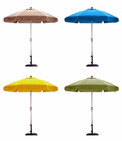 California Umbrella Fiberglass Ribs 7-ft 6-in Aluminum Market Umbrella with Valance - Crank & Tilt