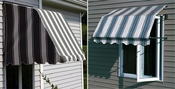 Casement Window Awnings - Aluminum & Sunbrella Fabric
