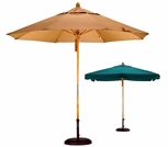 California Umbrella 9 Foot Wood Market Umbrellas with Fiberglass Ribs