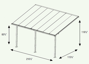 Patio Cover - Multi-Layered Polycarbonate Patio - Porch Awning 10 x 18