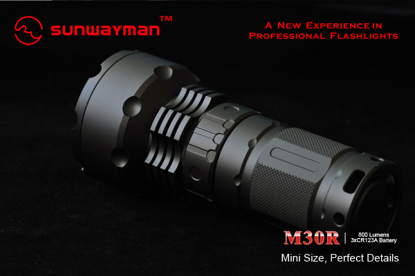 SUNWAYMAN M30 R- 800 Lumens Mini Magnetic Control Flashlight- 3 x CR123A Batteries