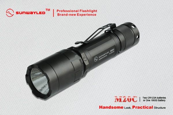 SUNWAYMAN M20C Tactical LED Flashlight 240 Lumens- 2 x CR123A Batteries
