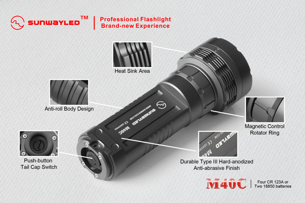 SUNWAYMAN 40C LED Flashlight 630 Lumens- 4 x CR123A / 2 x 18650 Batteries