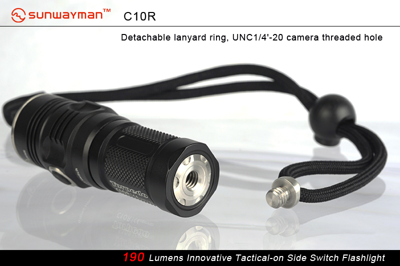 SUNWAYMAN C10R Torpedo LED Flashlight With CREE XM-L U2 LED - 190 Lumens - Uses 1 X CR123A or 1 X 16340