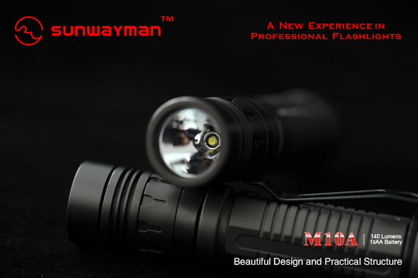 SUNWAYMAN M10A LED Flashlight with CREE R5 140 Lumens, uses 1 x AA Battery