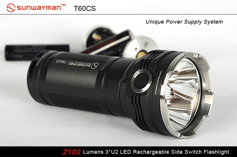 SUNWAYMAN T60CS Rechargeable LED Flashlight With 3 X CREE XM-L U2 LED - 2100 Lumens - Uses 6 X CR123A or 3 X 18650
