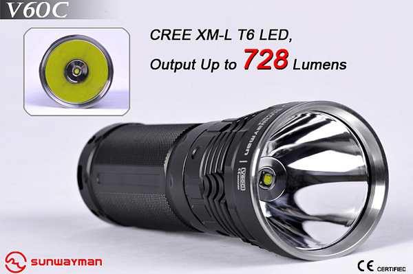 SUNWAYMAN V60C Rechargeable Flashlight - CREE XM-L (T6) LED - 909 Lumens - 3x18650 or 6xCR123/16340