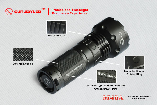SUNWAYMAN M40A LED Flashlight 500 Lumens- 4 x AA Batteries