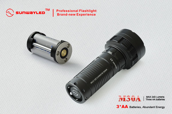 SUNWAYMAN M30A LED Flashlight 240 Lumens- 3 x AA Batteries