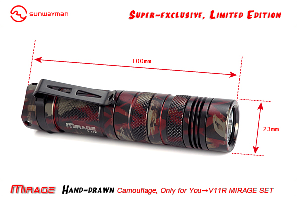 Sunwayman Limited Edition V11R Mirage LED Flashlight with CREE XM-L U2 LED - Up to 500 Lumens - Camouflage Finish - Uses 1 x CR123A or 1 x AA