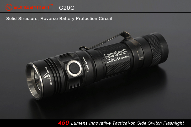 SUNWAYMAN C20C Tomahawk LED Flashlight With CREE XM-L U2 LED - 450 Lumens - Uses 2 X CR123A or 1 X 18650
