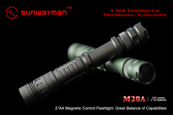 SUNWAYMAN M20A LED Flashlight with CREE R5 220 Lumens, uses 2 x AA Batteries