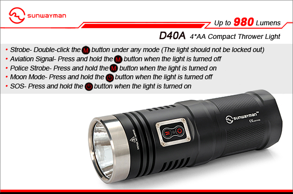 Sunwayman D40A LED Flashlight with CREE XM-L2 LED - 980 Lumens - Uses 4 x AA Batteries