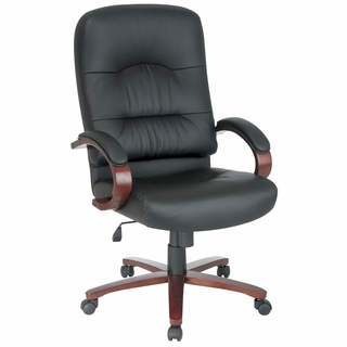 Office Star Work Smart Eco-Leather Executive Chair w/ Cherry Wood - WD5670 - Click to enlarge