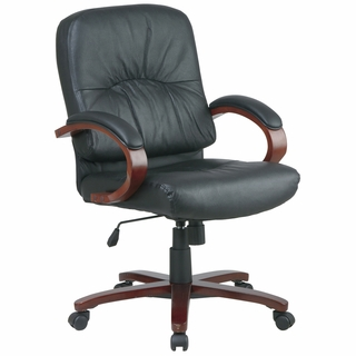 Office Star Work Smart Eco-Leather Mid-Back Executive Chair w/ Cherry Wood - WD5671 - Click to enlarge