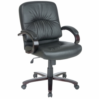 Office Star Work Smart Mid-Back Executive Leather Chair w/ Wood Accents - WD5331 - Click to enlarge