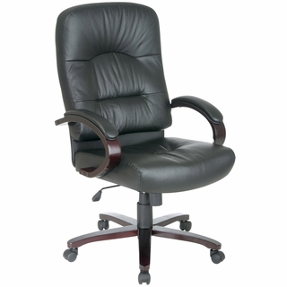 Office Star Work Smart Executive Leather Office Chair w/ Wood Accents  - WD5330 - Click to enlarge