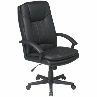 Office Star Work Smart High-Back Leather Executive Office Chair - EC22070 - Click to enlarge