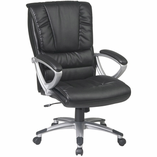 Office Star Work Smart Leather Executive Office Chair w/ Padded Arms - ECH67106-EC3 - Click to enlarge