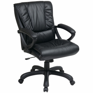 Office Star Work Smart Pillow-Top Mid-Back Leather Executive Office Chair - EX6711 - Click to enlarge