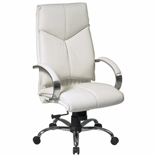 Office Star ProLine II High Back White Leather Office Chair - 7270 - Click to enlarge