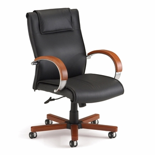 OFM Apex Executive Leather Chair w/ Wood Accents Mid-Back - 561-l - Click to enlarge