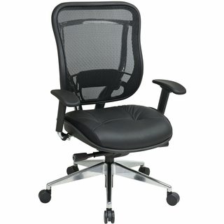 Office Star Space Mesh & Leather Office Chair (Adjustable Arms) - 818A-41P9C1A8 - Click to enlarge