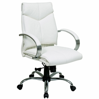 Office Star ProLine II Mid Back White Leather Office Chair - 7271 - Click to enlarge