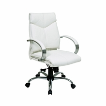 Office Star ProLine II Mid Back White Leather Office Chair   7271