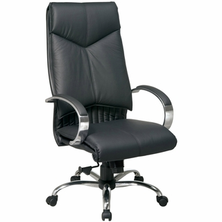 Office Star ProLine II Black Leather High Back Executive Office Chair - 8200 - Click to enlarge