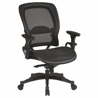 Office Star Space Black Mesh Managers Chair with Leather Trim - 2787 - Click to enlarge