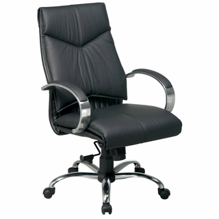Office Star ProLine II Black Leather Mid Back Executive Office Chair - 8201 - Click to enlarge