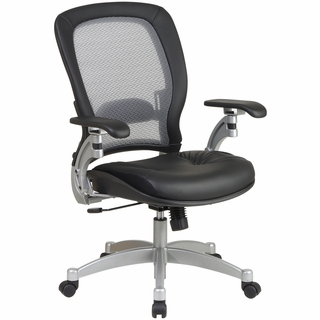 Office Star Space Leather Managers Chair (AirGrid Back) - 3680 - Click to enlarge