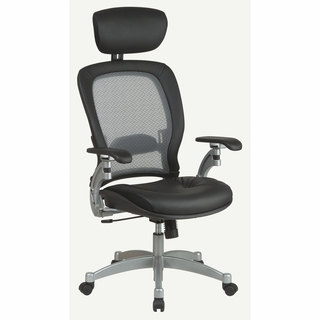Office Star Space Leather Managers Chair with Headrest (AirGrid Back) - 36806 - Click to enlarge