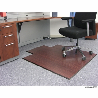 Anji Mountain Bamboo Tri-Fold Office Chair Mat - Dark Cherry - Click to enlarge