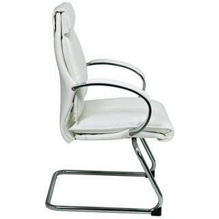 Office Star ProLine II White Leather Visitors Chair - 7275 - Click to enlarge