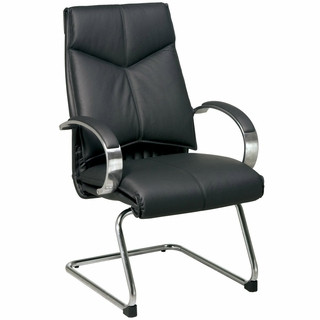 Office Star ProLine II Black Leather Mid Back Visitors Chair - 8205 - Click to enlarge