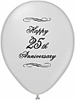 Balloons 25th Silver Anniversary Balloons