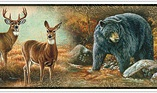 877496 Deer, Bear, and Turkey Wildlife Peel & Stick Wallpaper Border RMK1086bcs