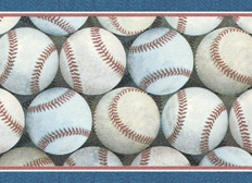Baseball Wallpaper Border <br> CLEARANCE!! QUANTITIES LIMITED!!