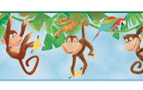 878088 Monkey Wallpaper Border ZB3217bd<br> CLEARANCE!! QUANTITIES LIMITED!!