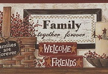 Family Phrases Wallpaper Border CB5521bd <br> CLEARANCE!! QUANTITIES LIMITED!!