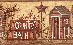 877384 Country Bath (Outhouse) Wallpaper Border HK4650bd <br> CLEARANCE!! QUANTITIES LIMITED!!